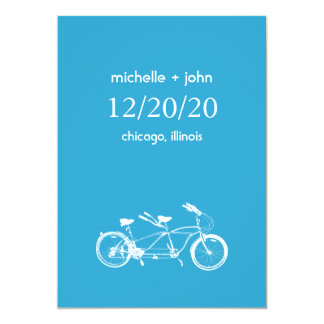 Bicycle Built For Two Save The Date (Blue) 5x7 Paper Invitation Card