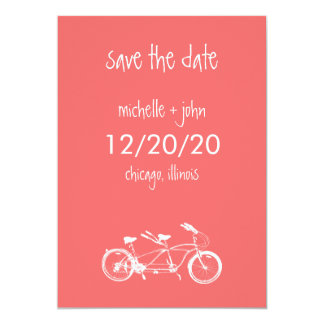 Bicycle Built For Two Save The Date (Coral) Card
