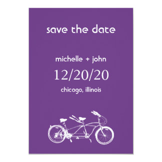 Bicycle Built For Two Save The Date (Dark Purple) Card