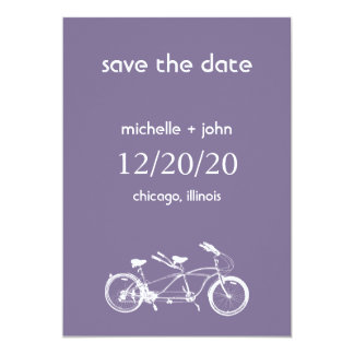 Bicycle Built For Two Save The Date (Eggplant) Card
