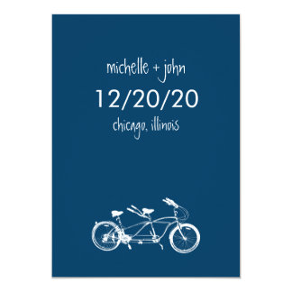 Bicycle Built For Two Save The Date (Navy Blue) Card