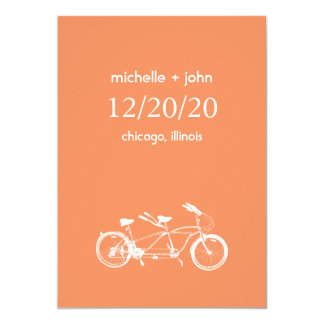 Bicycle Built For Two Save The Date (Orange) Card