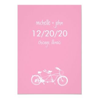 Bicycle Built For Two Save The Date (Pink) Card