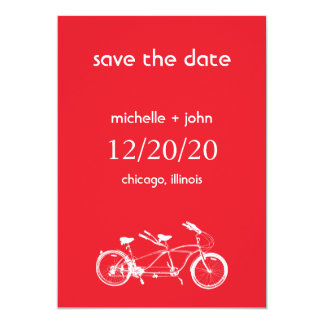 Bicycle Built For Two Save The Date (Red) Card