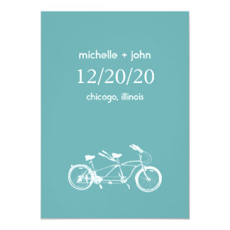 Bicycle Built For Two Save The Date (Sea Foam) Card