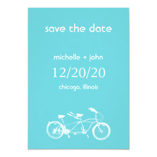 Bicycle Built For Two Save The Date (Teal) Card