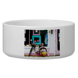 Bicycle By Antique Shop Dog Bowl