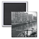 Bicycle by Canal 2 Inch Square Magnet