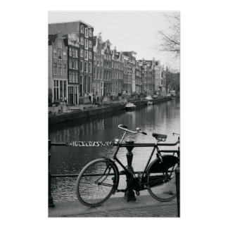 Bicycle by Canal Poster