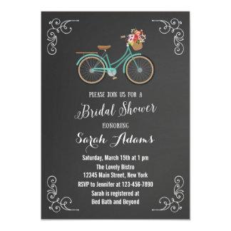 "Bicycle Chalkboard Bridal Shower Invitation 5"" X 7"" Invitation Card"
