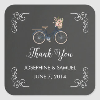 Bicycle Chalkboard Thank You Stickers