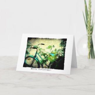 Bicycle Christmas Grunge card