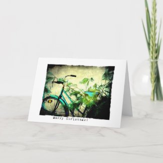 Bicycle Christmas Grunge Greeting Cards