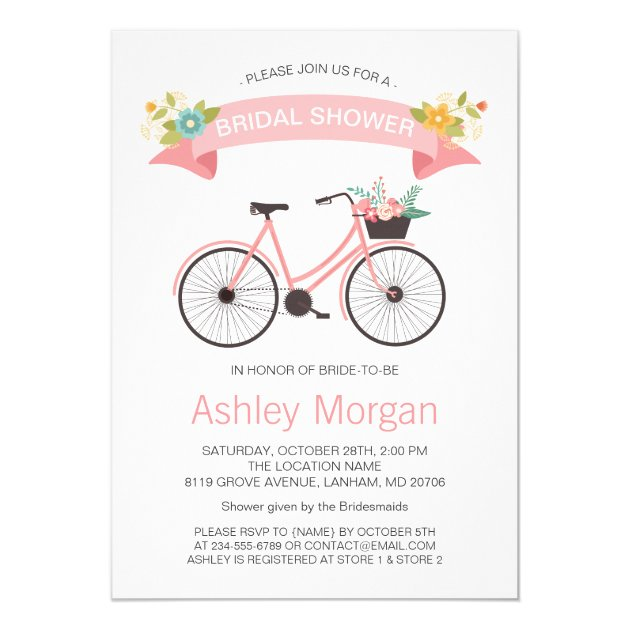 Personalized blush bridal shower invitations custominvitations4u bicycle classy chic blush pink bridal shower card filmwisefo Choice Image