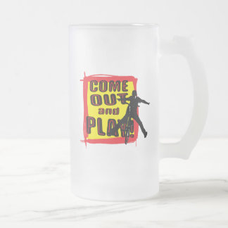 Bicycle Come Out And Play Frosted Glass Beer Mug
