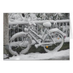 Bicycle Covered with Snow Greeting Card