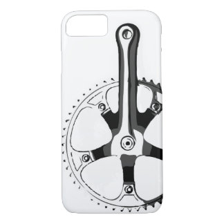Bicycle Crankset - black on white iPhone 8/7 Case