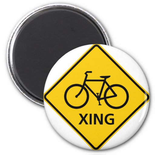 Bicycle Crossing Highway Sign 2 Inch Round Magnet