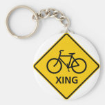 Bicycle Crossing Highway Sign Keychain