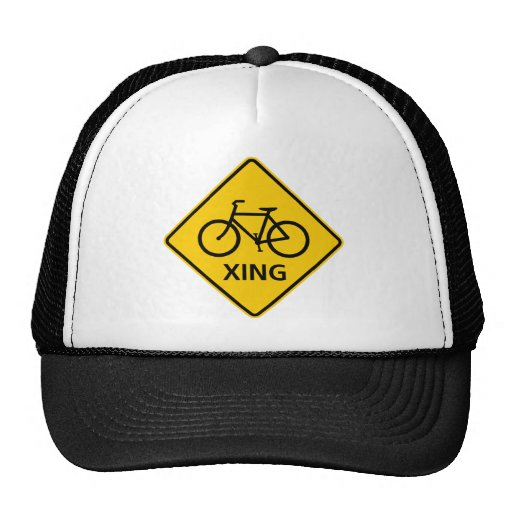 Bicycle Crossing Highway Sign Mesh Hat