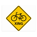 Bicycle Crossing Highway Sign Post Card