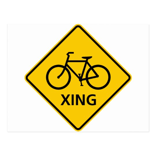Bicycle Crossing Highway Sign Postcard