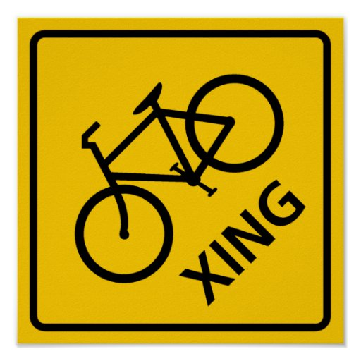 Bicycle Crossing Highway Sign Poster