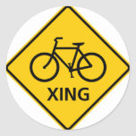 Bicycle Crossing Highway Sign Stickers