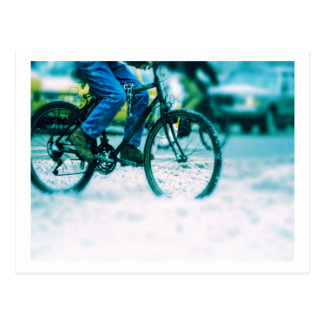 Bicycle Cycle Bicycling Cycling City Rain Storm Post Card