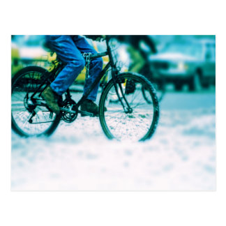 Bicycle Cycle Bicycling Cycling City Rain Storm Postcards