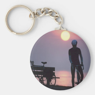 Bicycle Cycle Bicycling Cycling Quebec Canada Basic Round Button Keychain