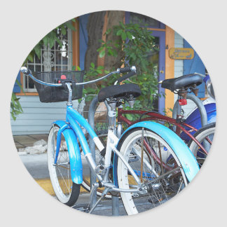 Bicycle Cycle Bicycling Cycling Shopping Miami Classic Round Sticker