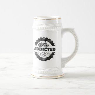 Bicycle Cycling Addicted 18 Oz Beer Stein
