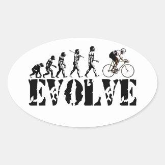 Bicycle Cycling Bike Riding Evolution Sports Art Oval Sticker