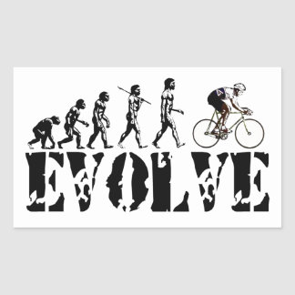 Bicycle Cycling Bike Riding Evolution Sports Art Rectangular Sticker