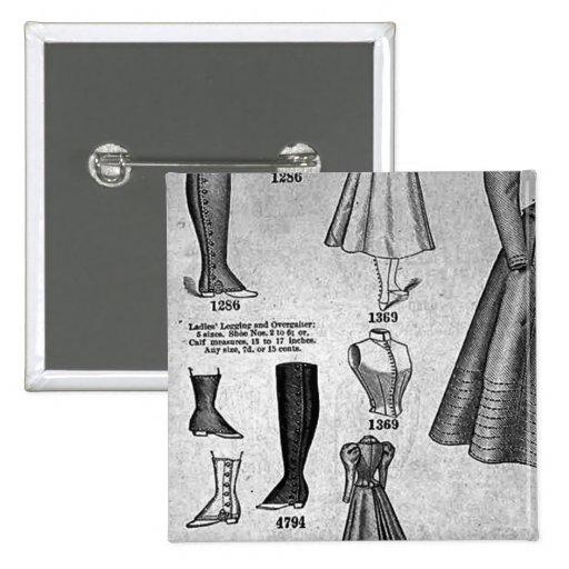 Bicycle Fashions1897 - vintage de señora Pin Cuadrada 5 Cm