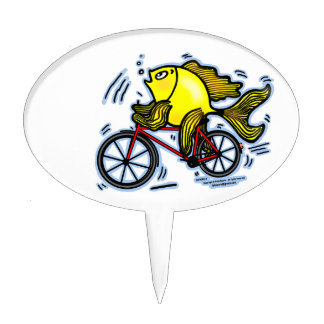 BICYCLE FISH funny Sparky cartoon gift Cake Topper