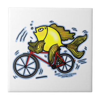 BICYCLE FISH funny Sparky cartoon gift Ceramic Tile