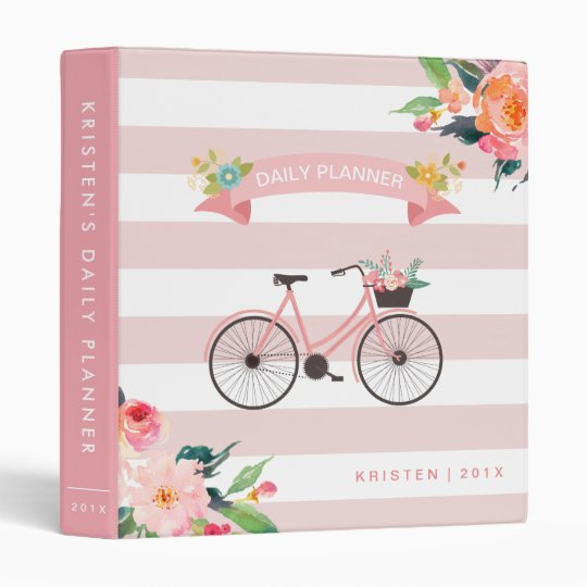 Bicycle Floral Light Pink Stripes Daily Planner Binder