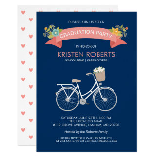 Bicycle Floral Navy Blue Girly Graduation Party Card