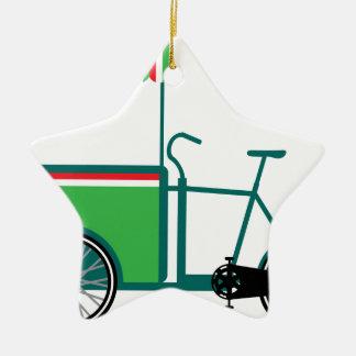 Bicycle food cart ceramic ornament