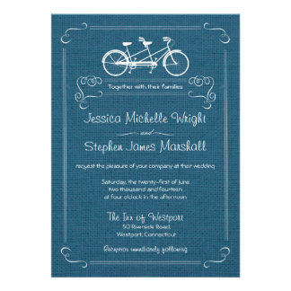 Bicycle for Two Blue Burlap Wedding Invitations