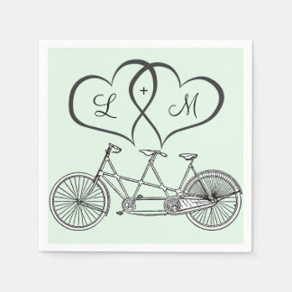 Bicycle for Two Hearts Wedding Personalized Napkin