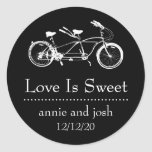 Bicycle For Two Love Is Sweet Labels (Black) Stickers