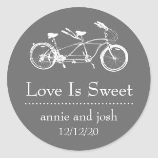 Bicycle For Two Love Is Sweet Labels (Dark Gray)