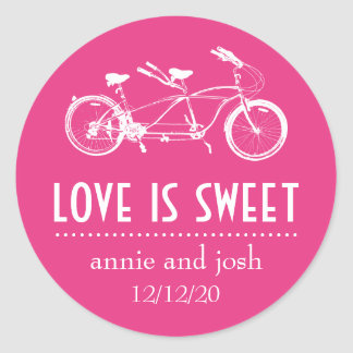 Bicycle For Two Love Is Sweet Labels (Dark Pink) Classic Round Sticker