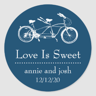 Bicycle For Two Love Is Sweet Labels (Navy Blue) Classic Round Sticker