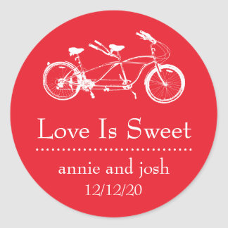 Bicycle For Two Love Is Sweet Labels (Red) Classic Round Sticker