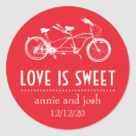 Bicycle For Two Love Is Sweet Labels (Red) Sticker