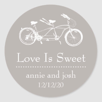 Bicycle For Two Love Is Sweet Labels (Sand) Classic Round Sticker